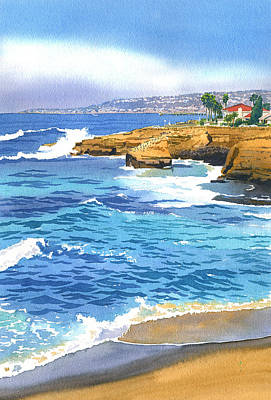Sunset Painting - Sunset Cliffs Point Loma by Mary Helmreich