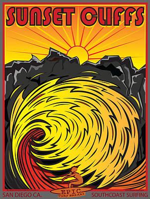 Wave Surfer Digital Art - Sunset Cliffs San Diego California by Larry Butterworth