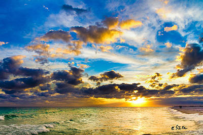 Silver Lining Photograph - Sunset Cloudscape Silver Lining-gold Blue Pensacola Sky by Eszra Tanner