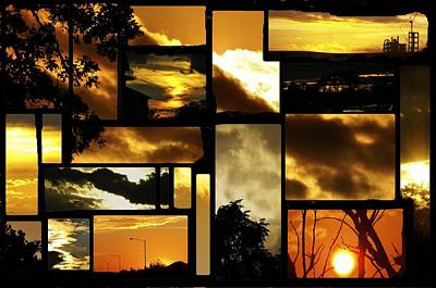 Sunset Collage Art Print by Cherie Haines