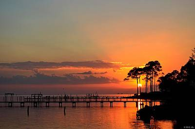 Photograph - Sunset Colors And Birds On Calm Santa Rosa Sound by Jeff at JSJ Photography