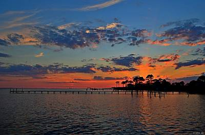 Photograph - Sunset Colors On Santa Rosa Sound With Rays by Jeff at JSJ Photography