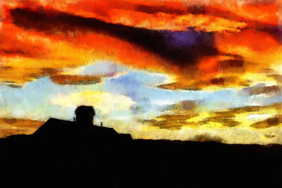 Beautiful Scenery Drawing - Sunset Colours by Ayse Deniz