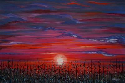 Painting - Sunset Cornfield by Terry  Hester