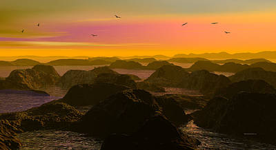 Digital Art - Sunset Cove by Robert Orinski
