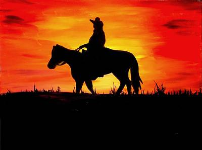 Painting - Sunset Cowboy by Marisela Mungia