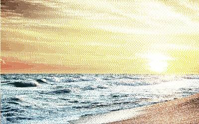 Drawing - Sunset - Cross Hatching by Samuel Majcen