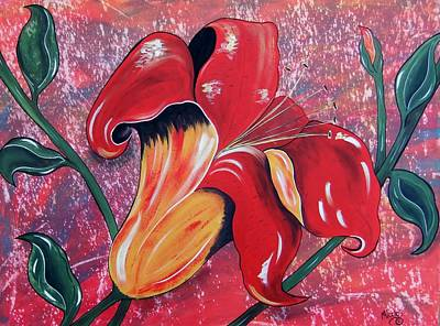 Painting - Sunset Day Lily by Cindy Micklos