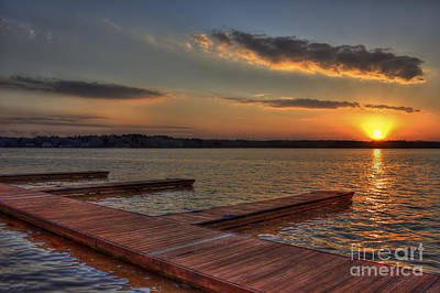 Sunset Docks On Lake Oconee Art Print by Reid Callaway