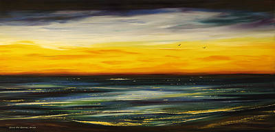 Painting - Sunset Drama - Panoramic by Gina De Gorna