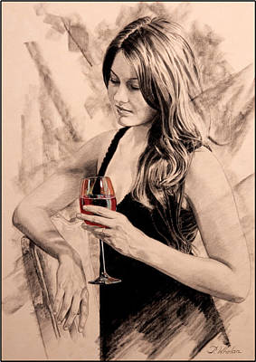 Red Wine Drawing - Sunset Dreams by Patrick Whelan