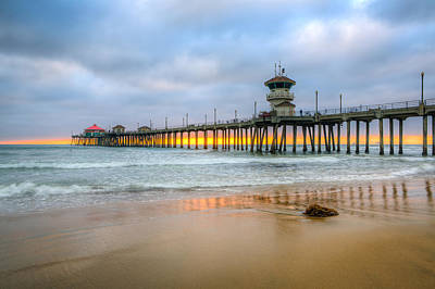 Huntington Beach California Photograph - Sunset Drifting Under The Pier by Andrew Slater