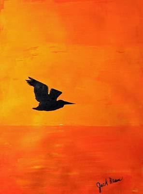 Painting - Sunset Egret by Jack G  Brauer