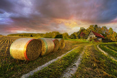 Sunset Farm Art Print by Debra and Dave Vanderlaan