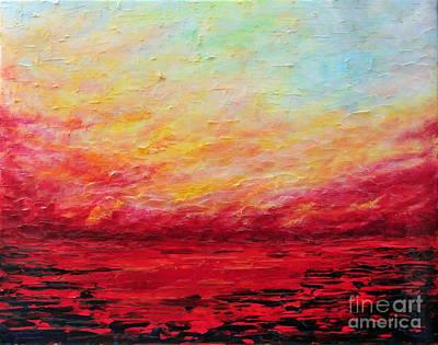 Sunset Fiery Art Print by Teresa Wegrzyn