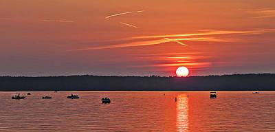Clarks Hill Lake Photograph - Sunset Fisherman by Michael Whitaker