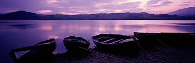 Sunset Fishing Boats Loch Awe Scotland Art Print by Panoramic Images