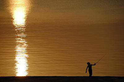 Photograph - Sunset Fishing by Charles Beeler
