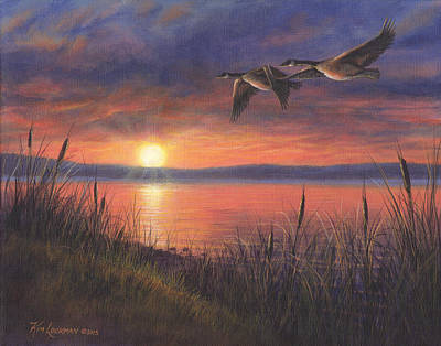 Art Print featuring the painting Sunset Flight by Kim Lockman
