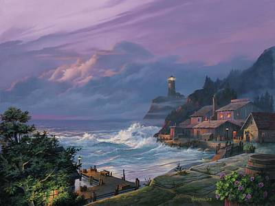 Lighthouse Wall Art - Painting - Sunset Fog by Michael Humphries