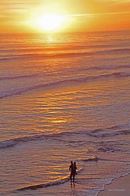 Ocean Sunset Mixed Media - Sunset For Two - Metaphysical Energy Art Print by Alex Khomoutov