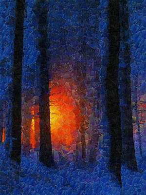 Sunset Forest Winter Art Print