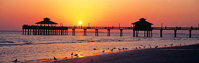 Sunset Fort Myers Beach Fl Usa Art Print by Panoramic Images