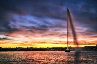 Photograph - Sunset Fountain by Anthony Citro