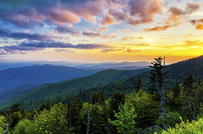 Sunset From Clingmans Dome Art Print by Anthony Heflin