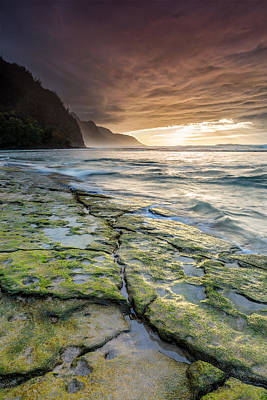 Photograph - Sunset From Kee Beach Kauai by Pierre Leclerc Photography