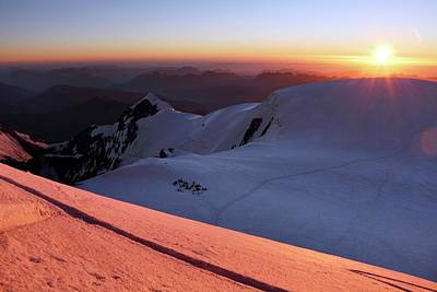 Human Landscape Photograph - Sunset From Mont Blanc by Martin Rietze