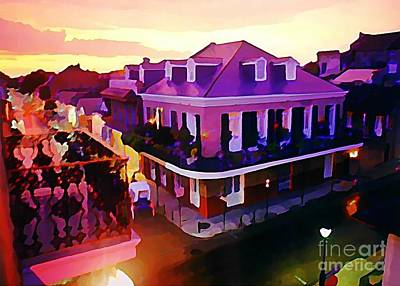 City Sunset Painting - Sunset From The Balcony In The French Quarter Of New Orleans by John Malone
