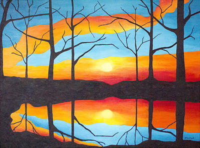 Vivid Colour Painting - Sunset From The Cottage by Jo-Anne Gazo-McKim