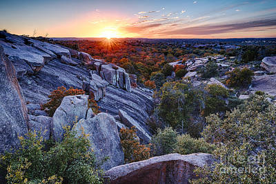Sunset From The Top Of Little Rock At Enchanted Rock State Park - Fredericksburg Texas Hill Country Art Print