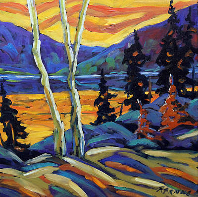 Gallery2 Painting - Sunset Geo Landscape Original Oil Painting By Prankearts by Richard T Pranke
