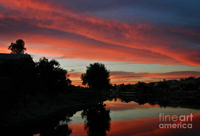 Photograph - Sunset Gilbert Arizona 2004 by Ron Chilston