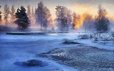 Sweden Digital Art - Sunset Glow by Gun Legler