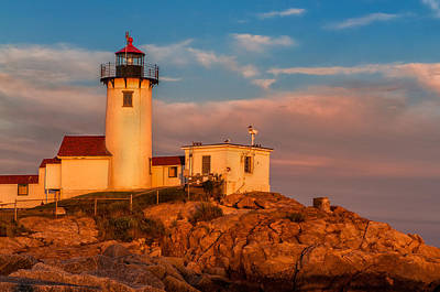 Sunset Glow On The Eastern Point Lighthouse Art Print by Thomas Schoeller