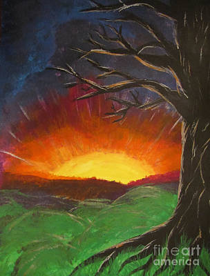 Sun Rays Painting - Sunset Glowing Beyond The Bare Tree Landscape Painting by Adri Turner
