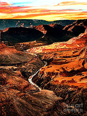 Painting - Sunset Grand Canyon West Rim by Bob and Nadine Johnston