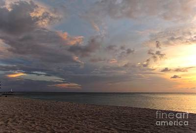 Sunset Grand Cayman Art Print by Peggy Hughes