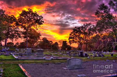 Photograph - Sunset Greensboro Cemetery Mccommons Lot   by Reid Callaway