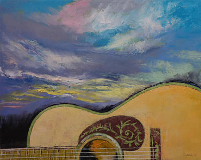 Acoustic Guitar Painting - Sunset Guitar by Michael Creese
