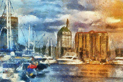 Down Town Los Angeles Photograph - Sunset Harbor View Downtown Long Beach Ca 01 Photo Art 01 by Thomas Woolworth