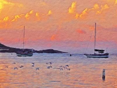Digital Art - Sunset Harbor With Birds - Horizontal by Lyn Voytershark