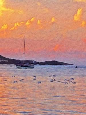 Digital Art - Sunset Harbor With Birds - Vertical by Lyn Voytershark