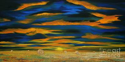 Sunset Hayfield Original by Terry  Hester