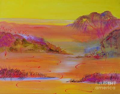 Art Print featuring the painting Sunset Hills by Lyn Olsen