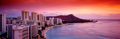 Grey Clouds Photograph - Sunset Honolulu Oahu Hi Usa by Panoramic Images