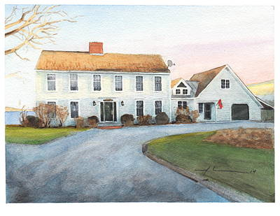 Sunset House Watercolor Portrait Art Print by Mike Theuer
